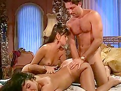 threesome brunette, bed-sex, milf, bedroom, ffm, 3some