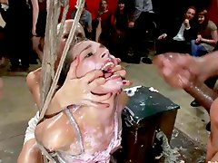 cumshot facial, pretty, bukkake, lips, humiliation, milk, tied-up, bondage, masturbating, public