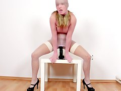 kinky european, riding, masturbating, nylon, high-heels, tits, czech, boobs, pantyhose, blonde, panties, slut, solo, dildo, milf, long-hair, black, fetish, big-tits